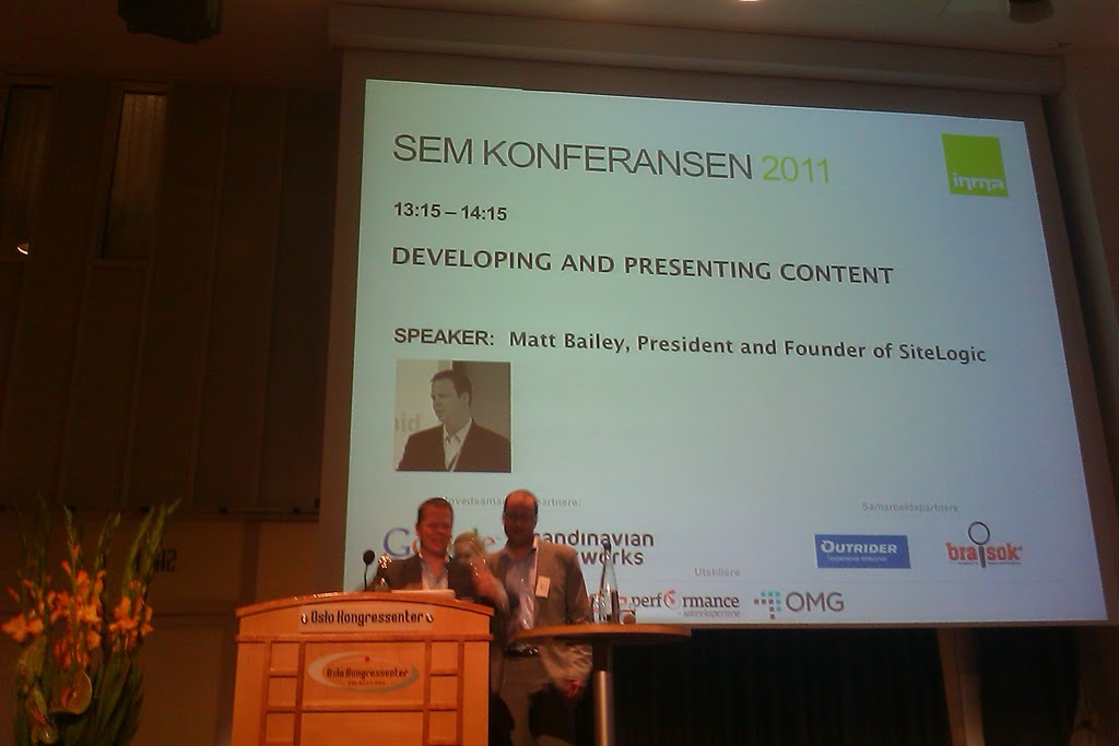 Matt Bailey på Sem-konferansen i Oslo 2011: Developing and presenting content.