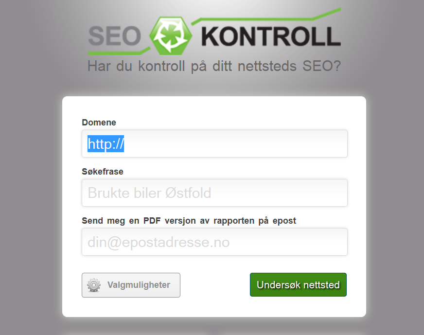 Din SEO kontroll - gratis SEO score og helsesjekk - p norsk
