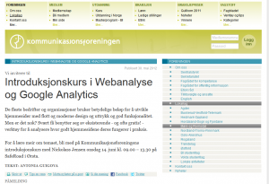 Kurs i Webanalyse Google Analytics
